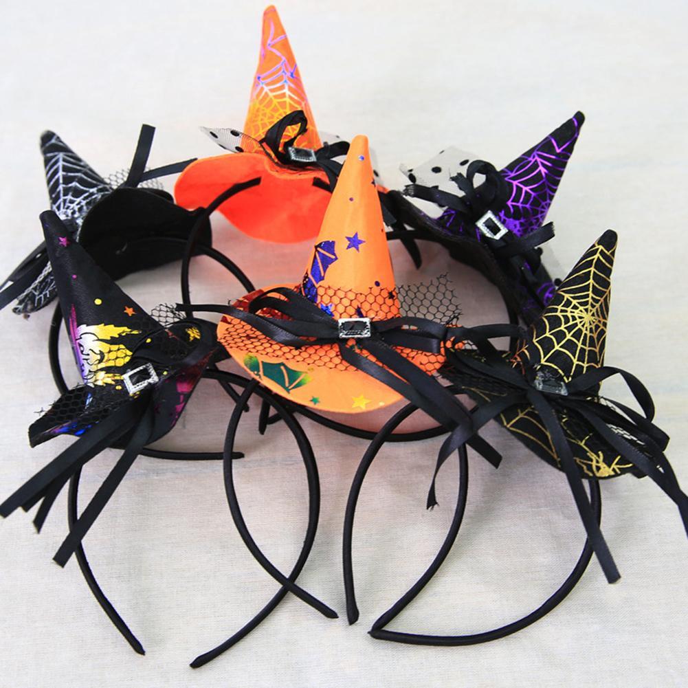 1 Pza sombreros de bruja cinta de Mascarada sombrero de mago gorro de bruja Halloween nudo cinta para el pelo horquilla accesorios de fiesta Cosplay