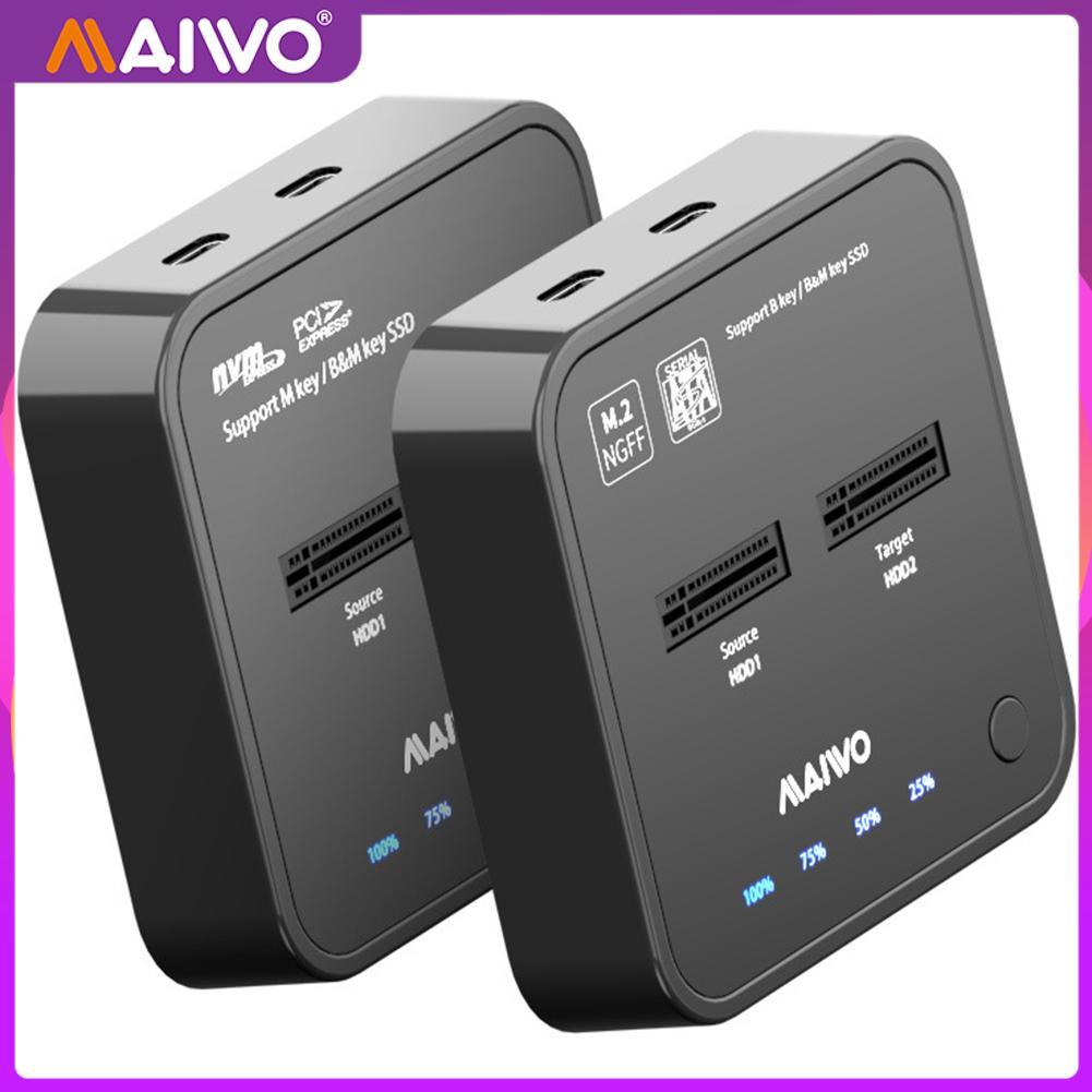 MAIWO K3016S/K3016P USB 3.1 Type C Hard Drive Docking Offline Clone M.2 SSD Station SATA NVME Dual Bay External Dock  for Win8