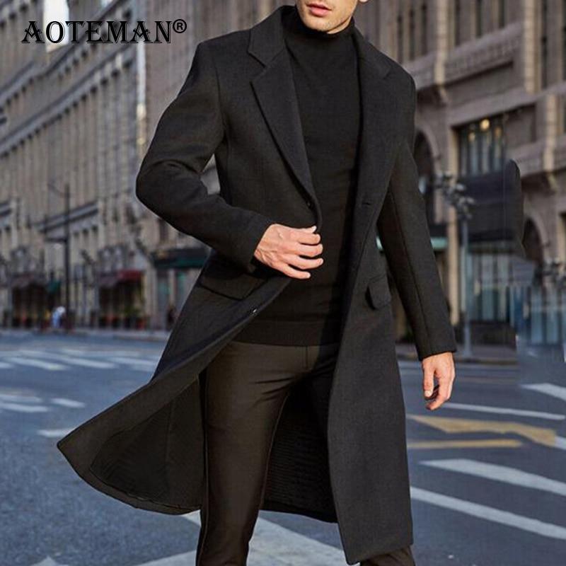 الرجال الصوف سترة Blends معاطف الخريف الشتاء طويل جاكيتات ملابس للرجال الصلبة سترة واقية أبلى وزرة الذكور الموضة LM047