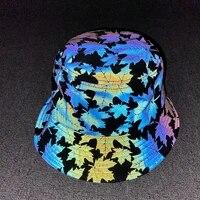 ousefu laser colorful maple leaf reflective hat baseball fisherman visors caps men women hip hop punk nightclub luminous chapeau