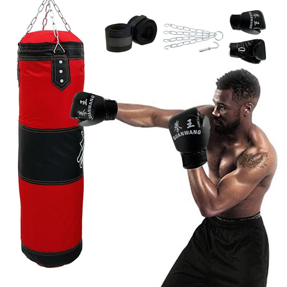 Bolsa de Boxe Fitness com Pendurado Sandbag para o Treinamento Bolsa de Areia Profissional Boxe Treinamento Pontapé Luta Karate Fitness