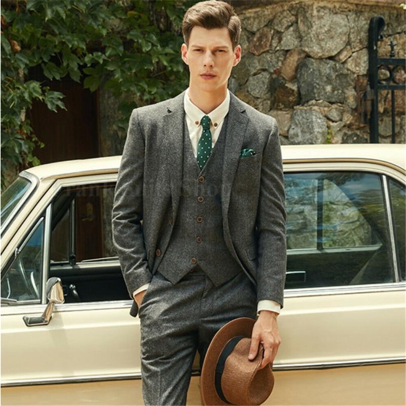 Traje de Tweed de espiga verde de lana hecho a medida para hombre de estilo británico Blazer ajustado para boda traje de hombre