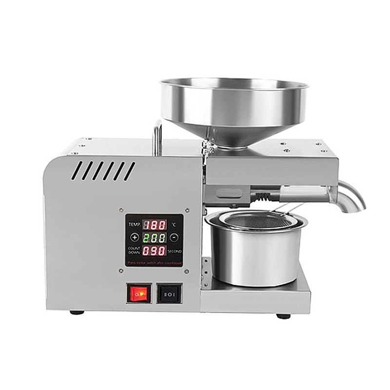 home use stainless steel screw coconut oil presser expeller cold hot press oil machine peanut sesame oil maker 220v or 110v SUSWEETLIFE X5S 220V/110Automatic Household FLaxseed Oil Press Oil Extractor Peanut Oil Press Cold Press Oil Machine 1500W (MAX)