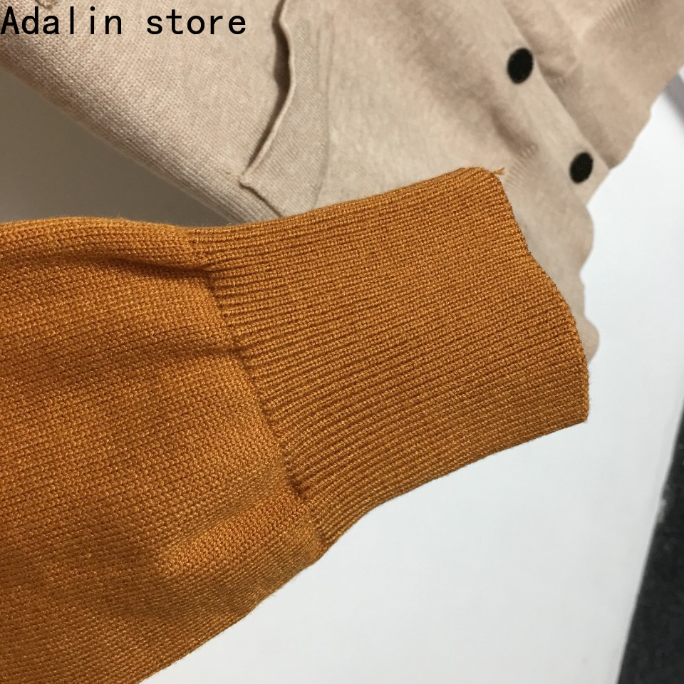 high quality letter embroidery single breasted long sleeved knitted cardigan fashion temperament V-neck splicing coat sweater enlarge