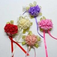 foam rose flowers bridal bridesmaid wrist corsage wedding party ribbon bracelet
