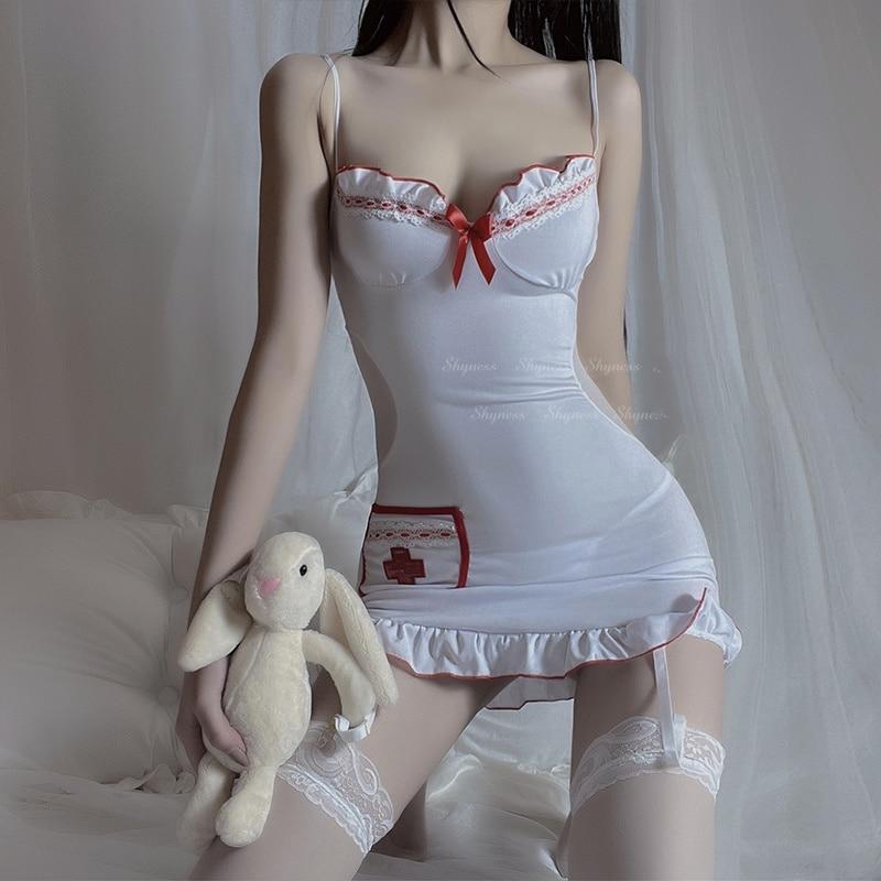Disfraz de enfermera, pijama Sexy para mujer, lencería calada Porno, vestido erótico, ropa interior de Cosplay, uniforme de enfermera