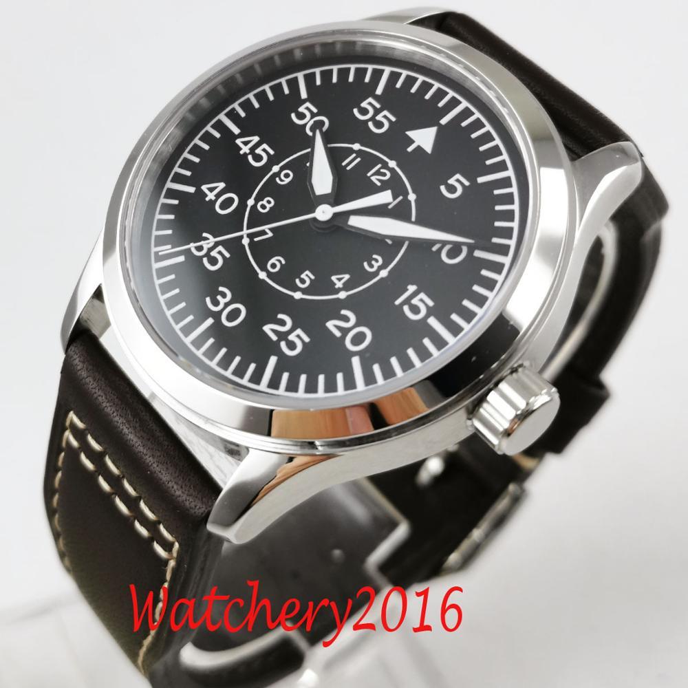 42 мм Corgeut черный циферблат кожа сапфировое стекло светящиеся отметки MIYOTA 8215 автоматические механические мужские часы
