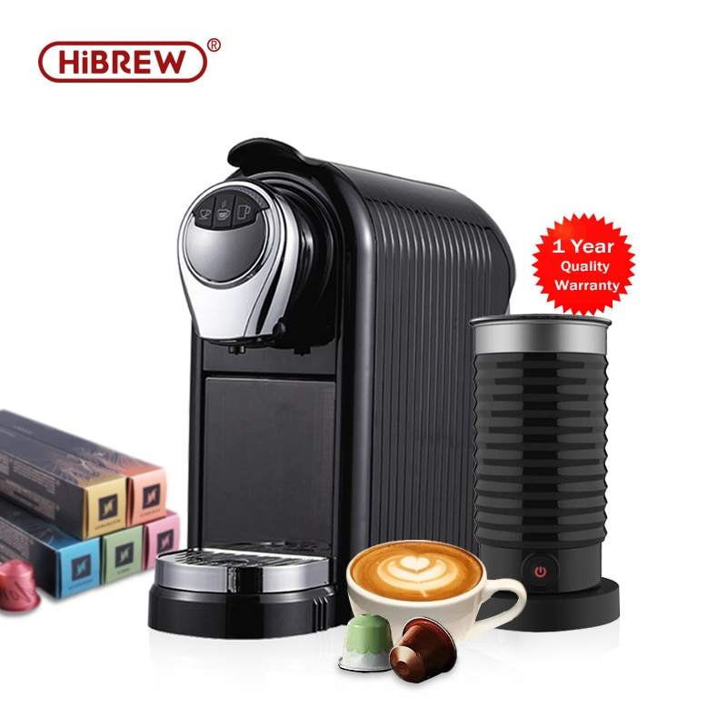 HiBREW Espresso Coffee Machine with electric Milk Frother Nespresso capsule compatible cappuccino hot chocolate