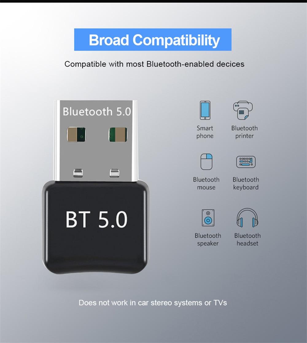Беспроводной USB-адаптер Bluetooth 5,0, приемник-Ключ 4,0, подходит для ПК, компьютера, мини-музыкальный Bluetooth-передатчик
