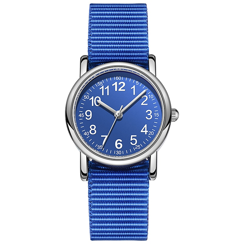 Easy to Read Kids Quartz Watches Nylon Strap Sweat Proof Japan Movement Boys and Girl