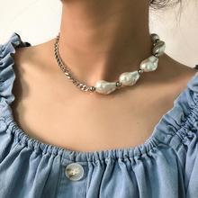 SHIXIN Asymmetrische Barocke Perle Choker Halskette für Frauen Charme Perlen Kurzen Choker Kragen Mode Halskette 2020 Schmuck Geschenke