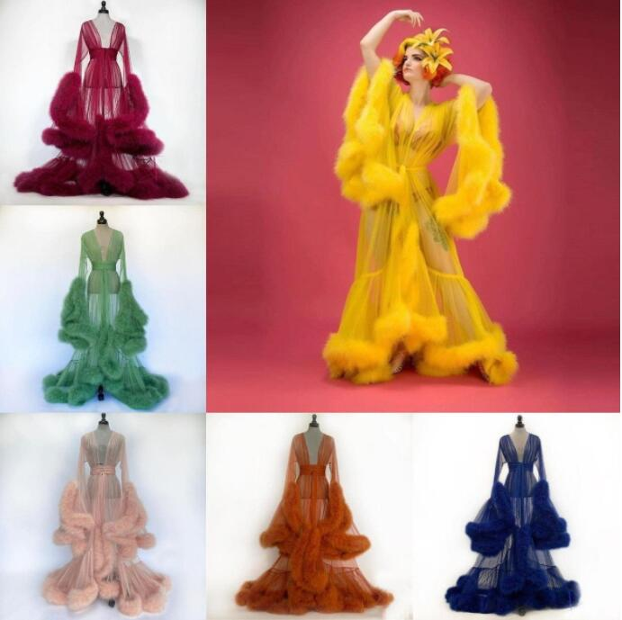 Customise Bridal Thick Feather Nightgown Robes New Arrival Transparent Tulle Lady Sleepwear Jackets Long Overlay Dressing Gowns
