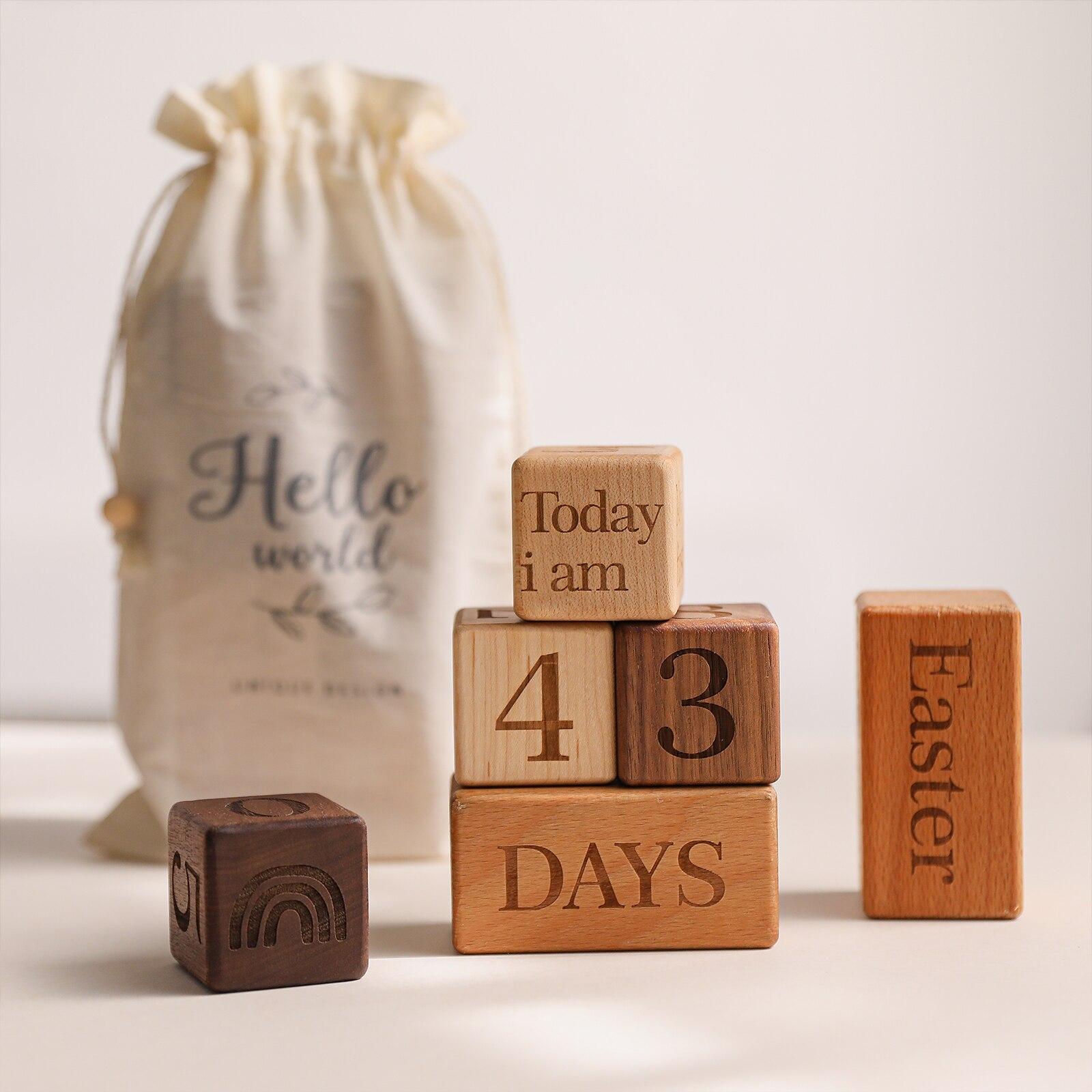 1Set Baby Milestone Block Wooden Beech Block Engraved Newborn Birth Month Birthday Milestones Blocks Photography Props Gift