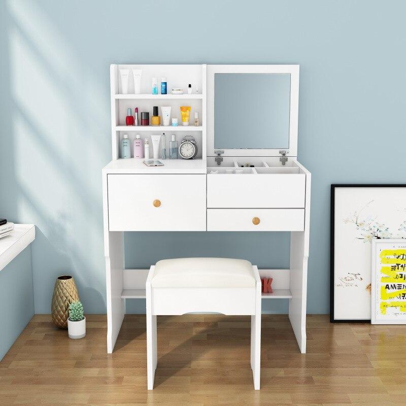 Мини-столик для макияжа с зеркалом, современный минималистичный раскладной туалетный столик для маленькой квартиры, шкаф для хранения