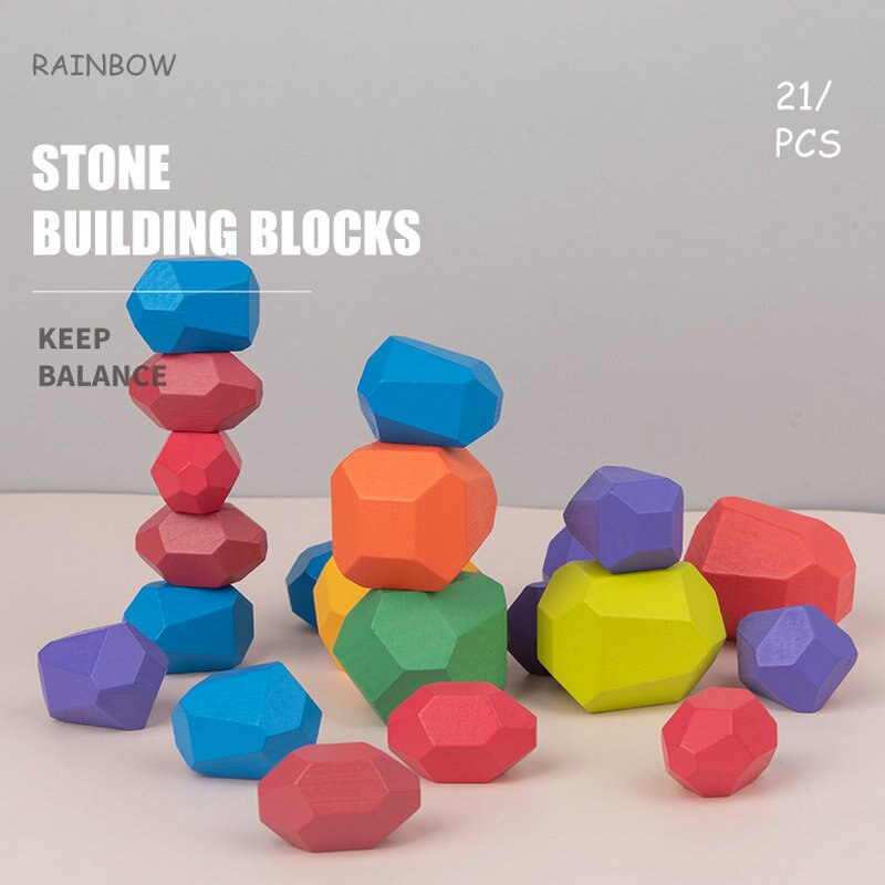 Фото - Rainbow and Gradients colour or Log colour stone building blocks toys for children stacking toy wood naturall Color stone blocks wood and stone about