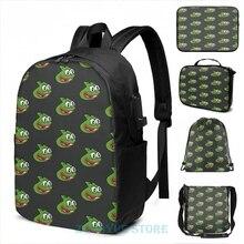 Funny Graphic print Pepega USB Charge Backpack men School bags Women bag Travel laptop bag