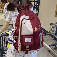 new patchwork contrast color girls nylon backpack leisure travel female student schoolbag laptop backpack fashion schoolbag lady
