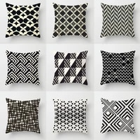 geometric black and white cushion cover nordic pillow vintage print case retro personalized summer pillow cover 4545 custom