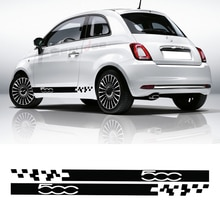 2Pcs Car Side Skirt Stickers Body Racing Stripes Lattice Graphic Decor Vinyl Film Decal For Fiat 500