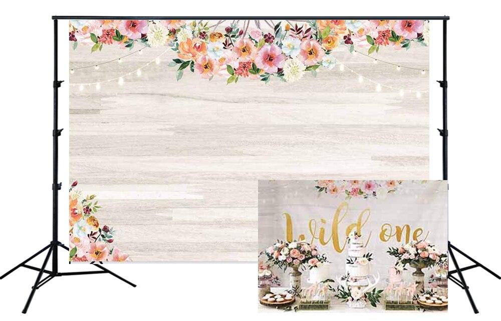 Pared de madera Floral fondo de flores tablero de madera chica Decoración de cumpleaños Boho bohemio Baby Shower fiesta Banner Foto fondo SM-331