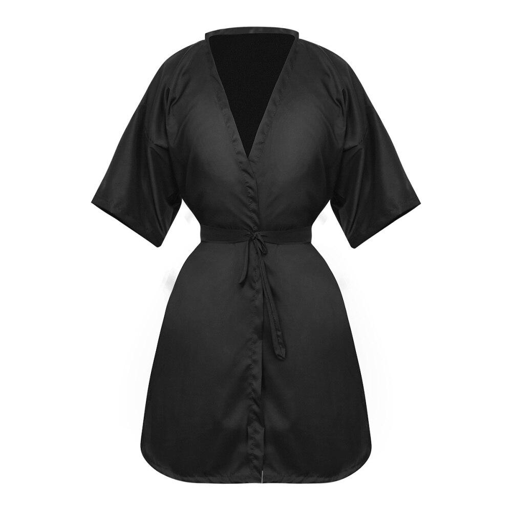 1 bata de cliente de salón Lurrose, bata de peluquería, bata de corte de pelo para clientes Estilo Kimono (negro)