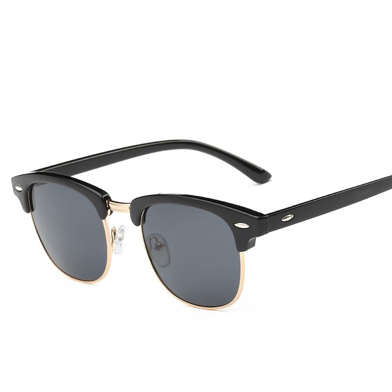 Men UV400 Sunglasses Men Women Luxury Vintage Semi-Rimless Brand Designer Fashion Mirror Shades For