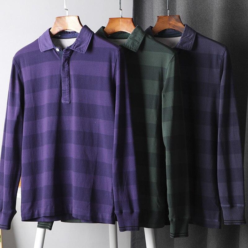 Lavados algodão outono men manga longa listrado camisa polo turn down collar plus size camisa trabalho causal respirável outwear 2020