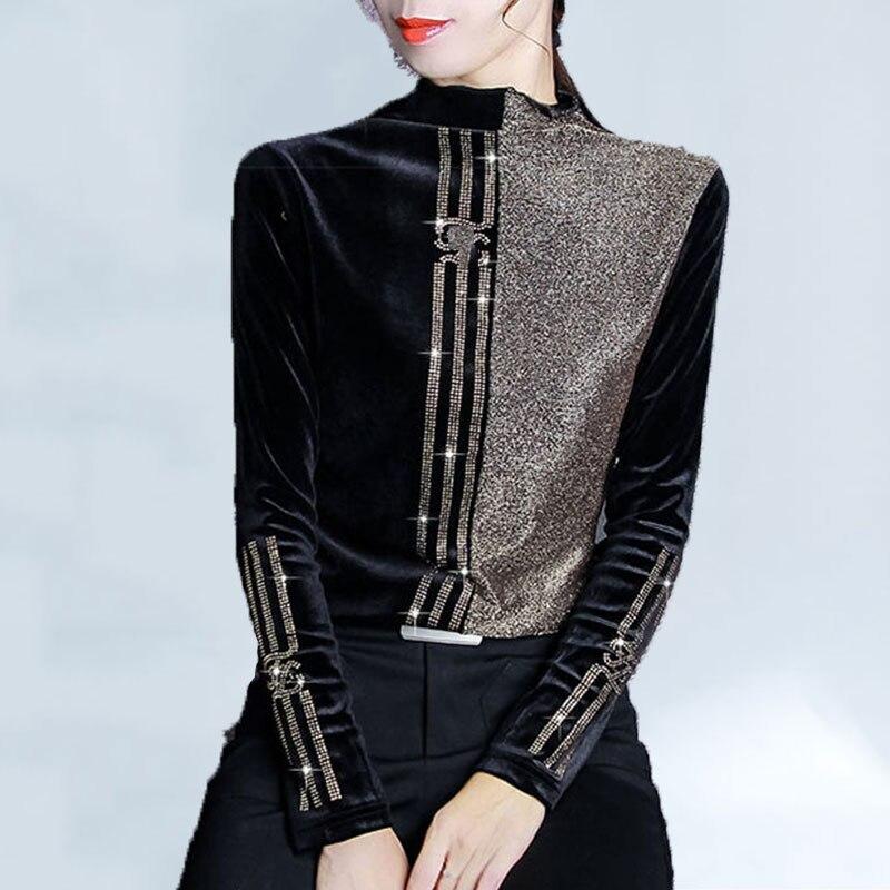 Winter Female T-shirt Bright Silk Stitching Plus Size T Shirt Women Plus Velvet Half-high Collar Bottoming Shirt Women Fashion