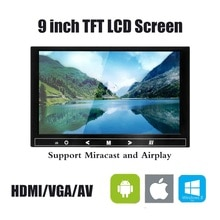 Monitor de coche 9 pulgadas TFT LCD monitor para cámara de visión trasera reversa Mini TV ordenador pantalla espejo enlace para Android iphone