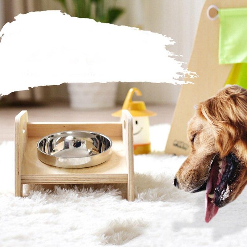Alimentador de Animais de Estimação Tigela de Madeira Carrinho Cachorro Gato Prato Inoxidável Suporte Alimentos L23 Aço