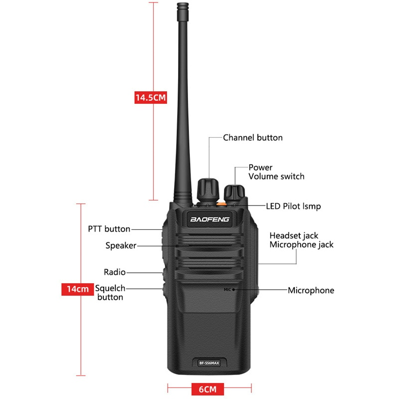 2pc Walkie Talkie Long Range 10KM BF S56 Max IP67 Waterproof High Power 10W рация Transceiver Portable Baofeng Ham Radio New enlarge