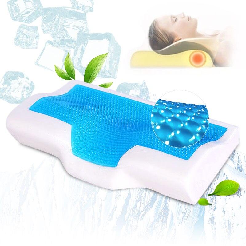 Almohadas de Gel de espuma de memoria verano Ice-cool Anti-ronquido cuello ortopédico sueño lento rebote almohadas cojín + funda de almohada ropa de cama hogar