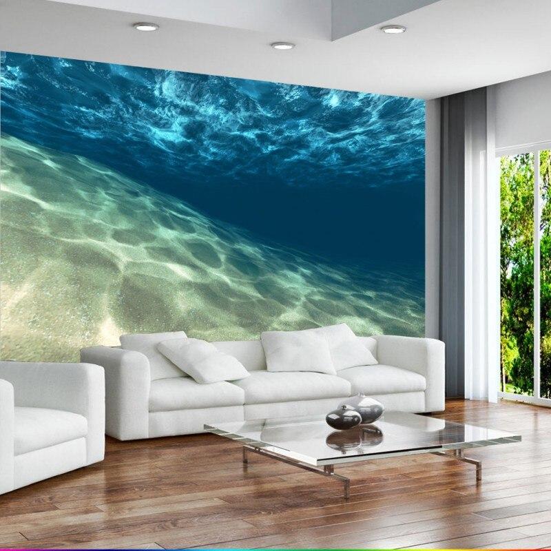 Papel pintado de la nave 3D estéreo claro agua de mar submarino Mural TV pared telón de fondo restaurante café papel pintado personalizado Mural