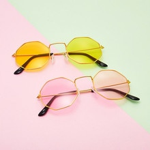Women Sunglasses Popular Retro Polygon Female Eyewear Anti Blue Light metal Frame Transparent Lens G