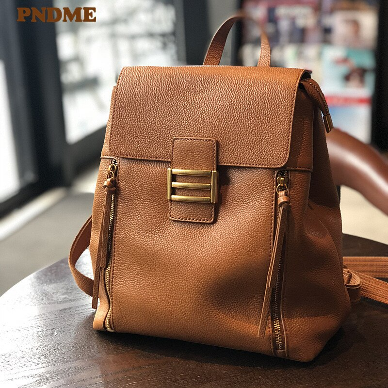 PNDME-حقيبة ظهر نسائية من الجلد الطبيعي الناعم ، حقيبة غير رسمية ذات سعة كبيرة ، مناسبة للاستخدام اليومي في الهواء الطلق
