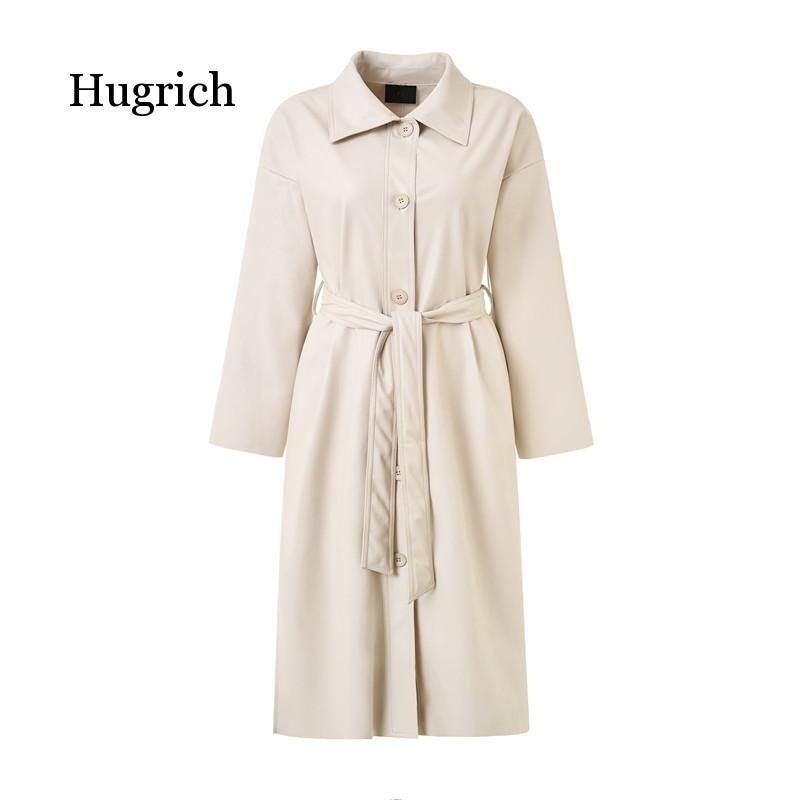 Cool PU Leather Long 2020 New Autumn Women Loose Belt Windbreaker Trench Coat Slim Spring Jacket enlarge
