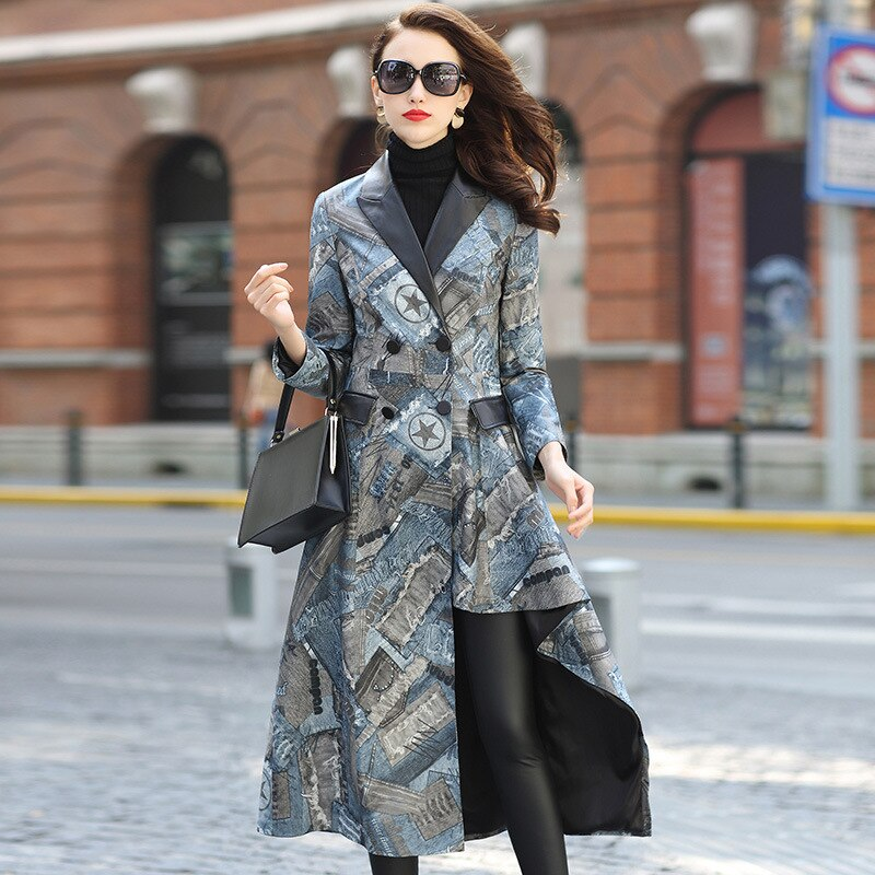 Casual Autumn Sheepskin Leather Long Slim Printed Women Coat Spring Irregularity Real Leather Luxurious High Quality Jackets