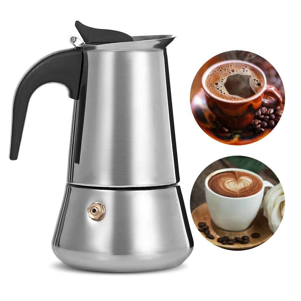Tetera de café de Moka de acero inoxidable, cafetera de Café Moka Latte, herramientas de percolador, cafetera, cafetera