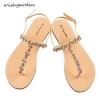 new womens summer bohemia diamond sandals women beach rhinestone shoes t strap thong flip flops comfortable slippers boho shoes