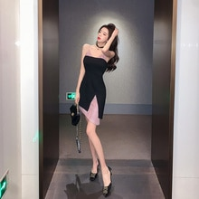 Products in Stock New Sexy Little Woman Dual-Color Patchwork Irregular Slim-Fit Hip-Wrapped Dress