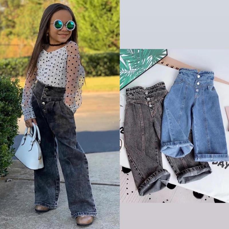 Джинсы для девочек с широкими штанинами на весну и осень, детские свободные прямые мягкие джинсовые брюки, джинсы для полных детей с высокой талией Джинсы    АлиЭкспресс