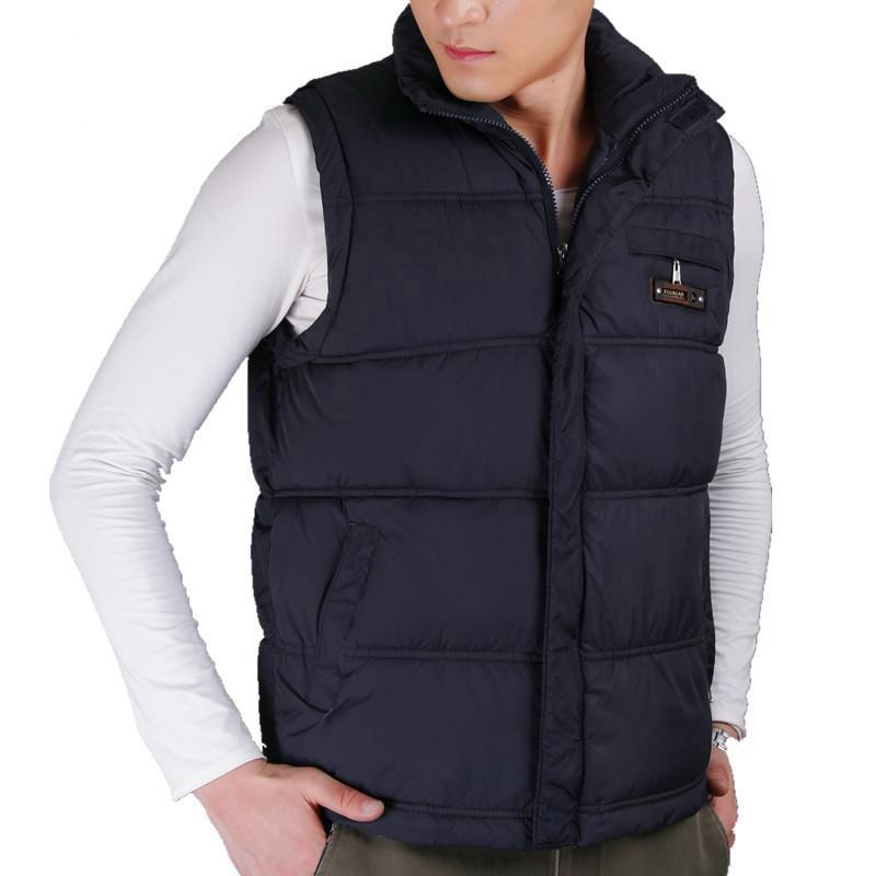 ¡Lo más vendido de 2019! Chaleco de algodón para hombres de invierno, abrigos de cuello mandarín para hombres, chaleco Casual cálido cortavientos de talla grande XL-5XL 4 colores