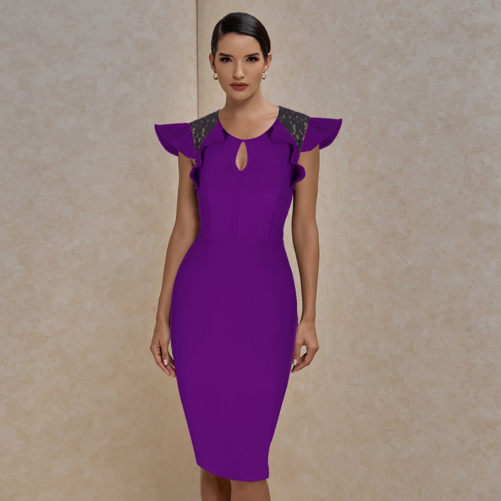 Bandage Dress 2021 New Arrival Ruffle Purple Bodycon Women Summer Sexy  Club Evenning Party Dresses High Quality