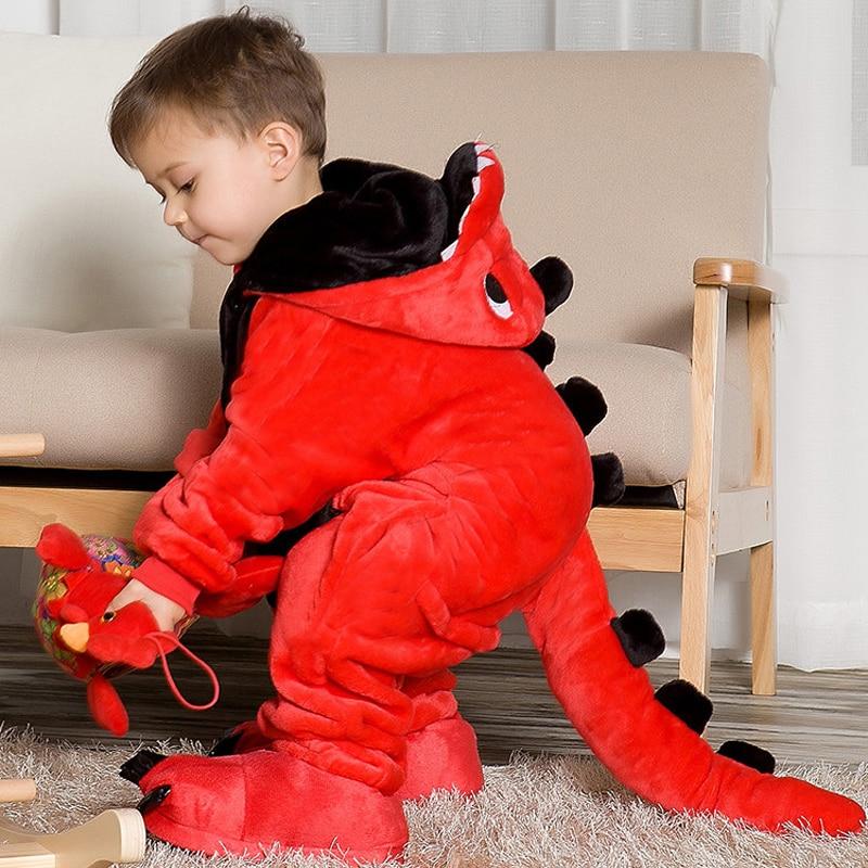 Childrens pajamas cartoon new jumpsuit flannel dinosaur animal play suit long-sleeved hoodie warm cute funny one-piece