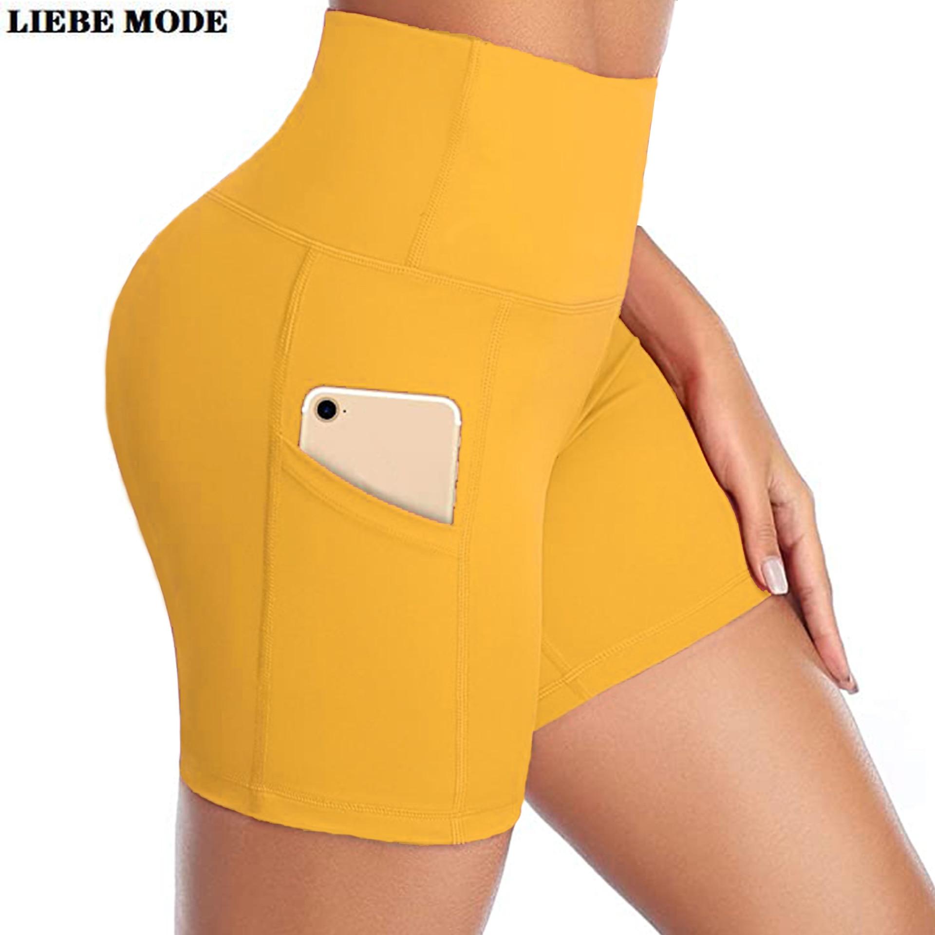 Women High Waist Yoga Shorts Womens Summer Sports Running Sport Short Leggings Tights Jogger Fitness Workout Yellow Grey Khaki