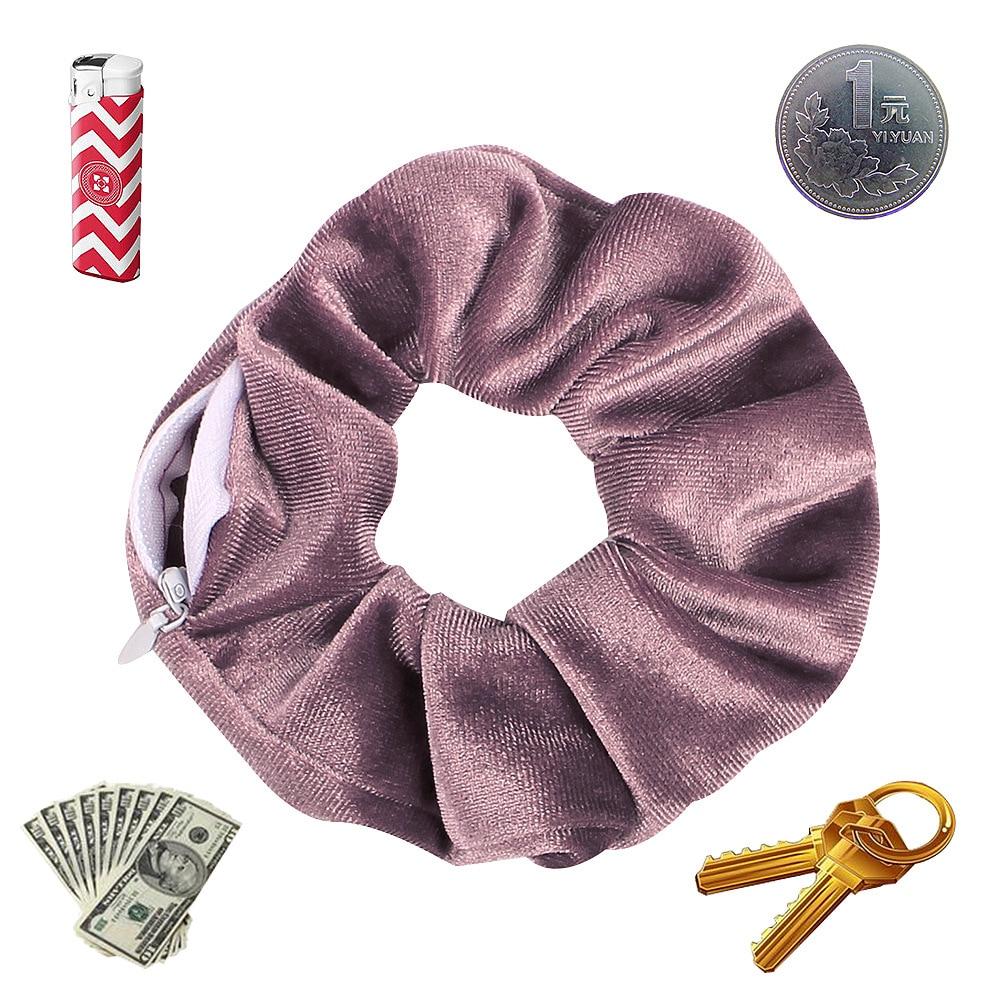 2021 New Design Zip Scrunchies Women Velvet Hair Ring Winter Hair Tie Pocket Hair Crunchies Chouchou Vintage Scronchies For Hair