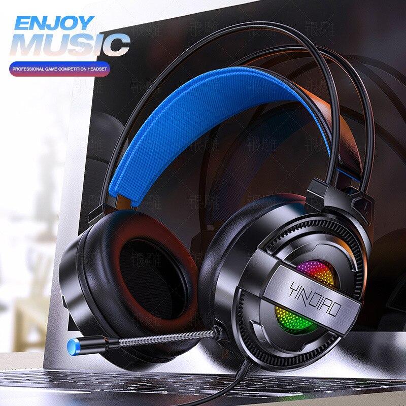 Fones de Ouvido Estéreo com Fio Fone de Ouvido Uso do Jogo Jogos Surround Microfone Luz Colorida Computador Portátil Profissional q3 Som Usb