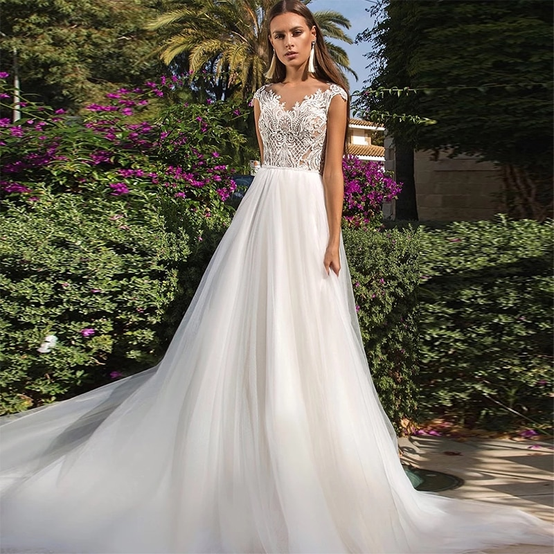 Review ChuYu 2021 Graceful O-neckline Sleeveless Tulle Lace Vestido De Novia Back Illusion Long A-line  Wedding Dress Formal Occasion