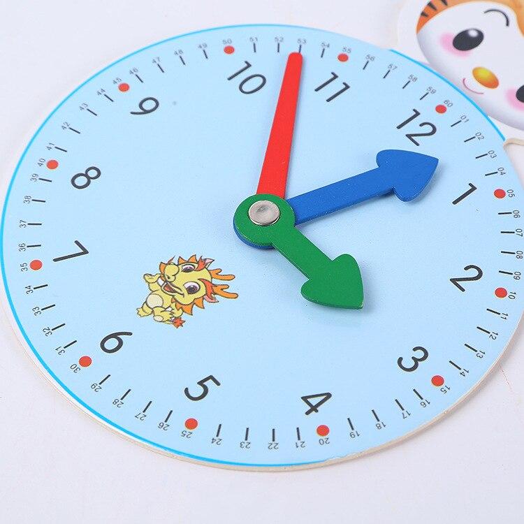 ¡Nuevo! Con dibujos animados de Huilong reloj de madera, material de papelería para enseñanza temprana, reloj con dibujos geométricos, reloj despertador, rompecabezas de juguete