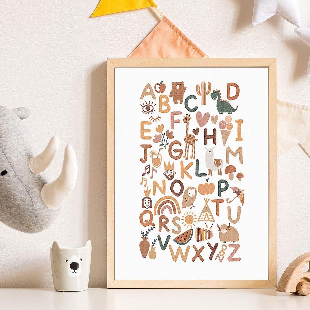 Póster educativo de letras y animales, pintura en lienzo con letras ABC,...
